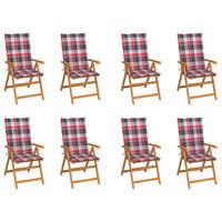 vidaXL Polohovací zahradní židle s poduškami 8 ks masivní teak