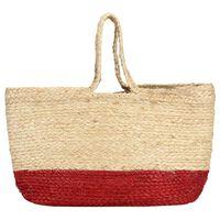 vidaXL Nákupní taška přírodní a rezavě červená ručně vyrobená juta