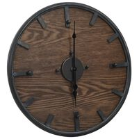 321473 vidaXL Wall Clock Brown and Black 45 cm Iron and MDF