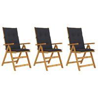 vidaXL Skládací zahradní židle s poduškami 3 ks masivní akáciové dřevo