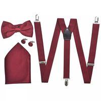 Sada doplňků k pánskému obleku/smokingu, šle a motýlek, vínová