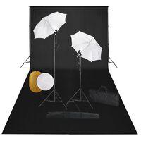 vidaXL Foto studio set s lampami, deštníky, pozadím a odraznou deskou