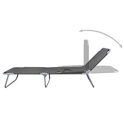 vidaXL Skládací zahradní lehátko s polohovatelným opěradlem šedé
