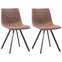 vidaXL Jídelní židle 2 ks středně hnědé umělá kůže