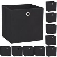 vidaXL Úložné boxy 10 ks netkaná textilie 32 x 32 x 32 cm černé