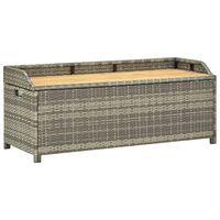 vidaXL Zahradní lavice s úložným prostorem 120 cm polyratan šedá