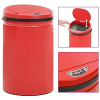 vidaXL Odpadkový koš s automatickým senzorem 30l uhlíková ocel červený
