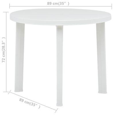 vidaXL Zahradní stůl bílý 89 cm plast