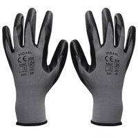vidaXL Pracovní rukavice nitrilové 1 pár šedo-černé velikost 9/L