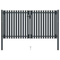 vidaXL Dvojitá plotová branka ocelová 306 x 200 cm antracitová