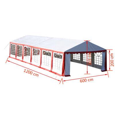 vidaXL Party stan 12 x 6 m červený