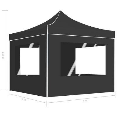 vidaXL Profesionální skládací party stan+stěny hliník 3 x 3 m antracit