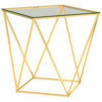 vidaXL Konferenční stolek zlatý a průhledný 50x50x55 cm nerezová ocel