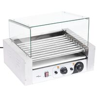 vidaXL Hot Dog 9 Roller Grilling Machine with Glass Cover 1800 W