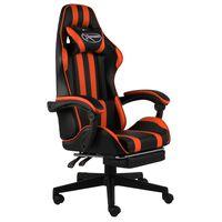 vidaXL Herní židle s podnožkou černo-oranžová umělá kůže