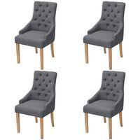 vidaXL Jídelní židle 4 ks tmavě šedé textil