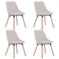 vidaXL Jídelní židle 4 ks krémové textil