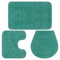 vidaXL Sada koupelnových předložek 3 kusy textilní tyrkysová