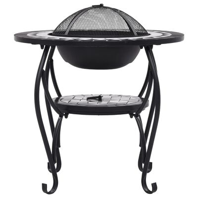 vidaXL Mozaikový stolek s ohništěm černobílý 68 cm keramika