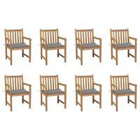 vidaXL Zahradní židle 8 ks šedé podušky masivní teak