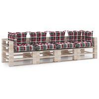 vidaXL 4místná zahradní pohovka z palet s poduškami borové dřevo