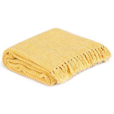 vidaXL Přehoz bavlna 220 x 250 cm hořčicově žlutý