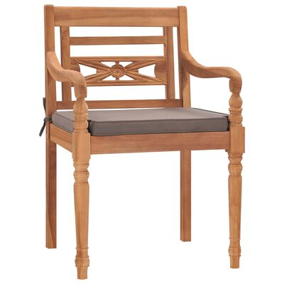 vidaXL Židle Batavia 2 ks s tmavě šedými poduškami masivní teak