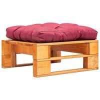 vidaXL Zahradní taburet z palet červená poduška medově hnědé dřevo