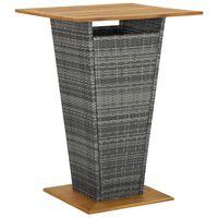 vidaXL Barový stůl šedý 80 x 80 x 110 cm polyratan a masivní akácie