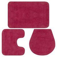 vidaXL Sada koupelnových předložek 3 kusy textilní fuchsiová