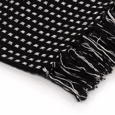 vidaXL Bavlněný přehoz se čtverečky 125 x 150 cm černý