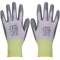 vidaXL Pracovní rukavice z PU, 24 párů, bílošedé, vel. 10/L