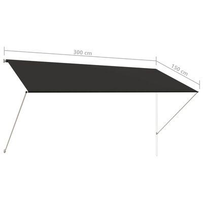 vidaXL Zatahovací markýza 300 x 150 cm antracitová