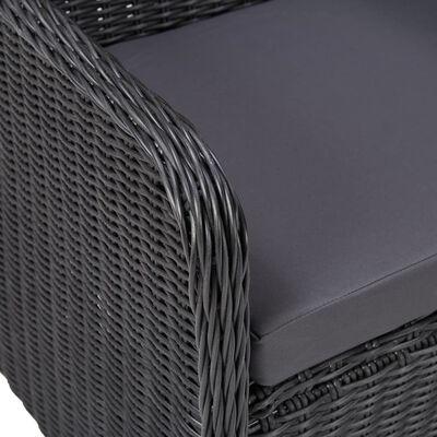vidaXL 3dílný bistro set s poduškami polyratan černý,