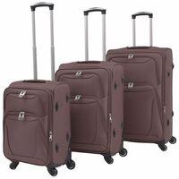vidaXL 3dílná souprava měkkých kufrů na kolečkách, kávová