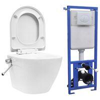 vidaXL Závěsné WC bezobrubové s podomítkovou nádržkou keramika bílé