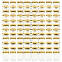 vidaXL Zavařovací sklenice se zlatými víčky 96 ks 230 ml