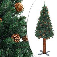 vidaXL Úzký vánoční stromeček pravé dřevo a šišky zelený 180 cm PVC