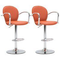 vidaXL Barové stoličky s područkami 2 ks oranžové umělá kůže