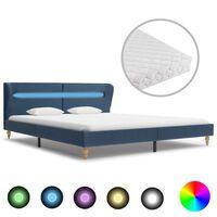 vidaXL Postel s matrací a LED světlem modrá textil 180 x 200 cm