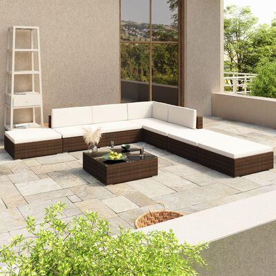vidaXL 8dílná zahradní sedací souprava s poduškami polyratan hnědá
