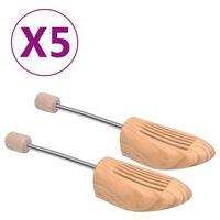 vidaXL Napínáky do bot 5 párů velikost 38–39 masivní borové dřevo