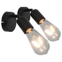 vidaXL Bodová světla 2 ks se žhavicími žárovkami 2 W černá E27