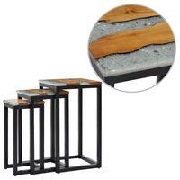 vidaXL Hnízdové stolky 3 ks masivní teakové dřevo a polyresin