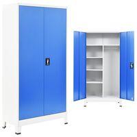 vidaXL Zamykací skříň se 2 dvířky kovová 90 x 40 x 180 cm šedo-modrá