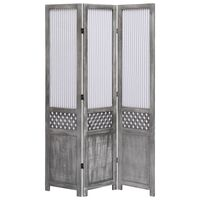 vidaXL 3dílný paraván šedý 105 x 165 cm textil