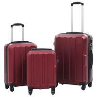 vidaXL Sada skořepinových kufrů na kolečkách 3 ks vínová ABS