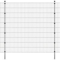 vidaXL 2D zahradní plotový dílec a sloupky 2008x2030 mm, 2 m, stříbrné