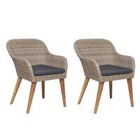 vidaXL Zahradní židle 2 ks s poduškami polyratan hnědé
