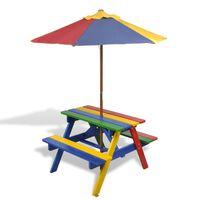 vidaXL Dětský piknikový stůl, lavičky a slunečník vícebarevný dřevo
